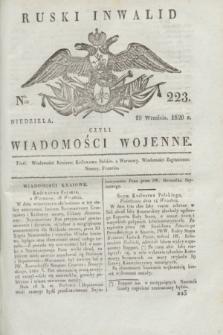 Ruski Inwalid : czyli wiadomości wojenne. 1820, № 223 (19 września)