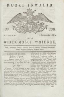 Ruski Inwalid : czyli wiadomości wojenne. 1820, № 236 (5 października)