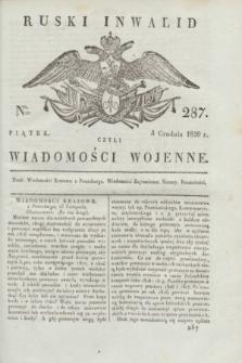 Ruski Inwalid : czyli wiadomości wojenne. 1820, № 287 (3 grudnia)