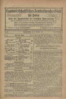 Landwirtschaftliches Zentralwochenblatt für Polen : Blatt des Hauptvereins der deutschen Bauernvereine und des Arbeitgeberverbandes für die deutsche Landwirtschaft in Großpolen. 1921, Nr. 49 (10 Dezember)
