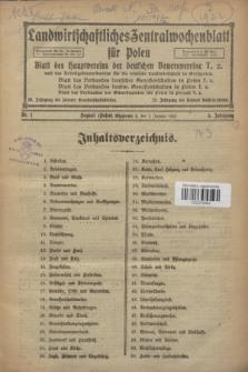 Landwirtschaftliches Zentralwochenblatt für Polen : Blatt des Hauptvereins der deutschen Bauernvereine und des Arbeitgeberverbandes für die deutsche Landwirtschaft in Großpolen. Jg.3, Nr. 1 (7 Januar 1922)