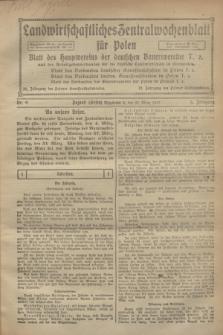 Landwirtschaftliches Zentralwochenblatt für Polen : Blatt des Hauptvereins der deutschen Bauernvereine und des Arbeitgeberverbandes für die deutsche Landwirtschaft in Großpolen. Jg.3, Nr. 9 (27 März 1922)