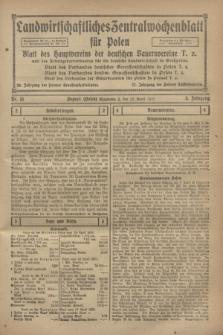 Landwirtschaftliches Zentralwochenblatt für Polen : Blatt des Hauptvereins der deutschen Bauernvereine und des Arbeitgeberverbandes für die deutsche Landwirtschaft in Großpolen. Jg.3, Nr. 13 (22 April 1922)