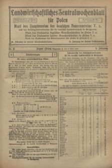 Landwirtschaftliches Zentralwochenblatt für Polen : Blatt des Hauptvereins der deutschen Bauernvereine und des Arbeitgeberverbandes für die deutsche Landwirtschaft in Großpolen. Jg.3, Nr. 15 (6 Mai 1922)