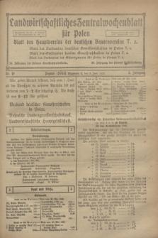 Landwirtschaftliches Zentralwochenblatt für Polen : Blatt des Hauptvereins der deutschen Bauernvereine. Jg.3, Nr. 19 (3 Juni 1922)