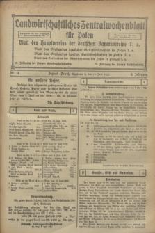 Landwirtschaftliches Zentralwochenblatt für Polen : Blatt des Hauptvereins der deutschen Bauernvereine. Jg.3, Nr. 21 (17 Juni 1922)