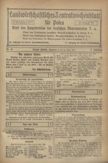 Landwirtschaftliches Zentralwochenblatt für Polen : Blatt des Hauptvereins der deutschen Bauernvereine. Jg.3, Nr. 22 (24 Juni 1922)