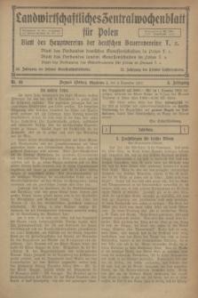 Landwirtschaftliches Zentralwochenblatt für Polen : Blatt des Hauptvereins der deutschen Bauernvereine. Jg.3, Nr. 46 (9 Dezember 1922)