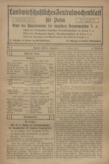 Landwirtschaftliches Zentralwochenblatt für Polen : Blatt des Hauptvereins der deutschen Bauernvereine. Jg.4, Nr. 6 (10 Februar 1923)