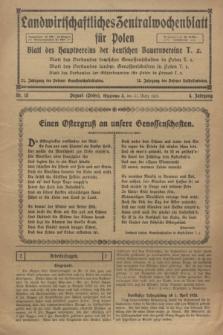 Landwirtschaftliches Zentralwochenblatt für Polen : Blatt des Hauptvereins der deutschen Bauernvereine. Jg.4, Nr. 13 (31 März 1923)