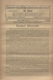Landwirtschaftliches Zentralwochenblatt für Polen. Jg.4, Nr. 34 (24 August 1923)