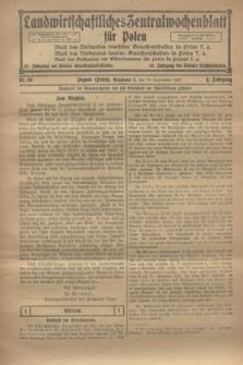 Landwirtschaftliches Zentralwochenblatt für Polen. Jg.4, Nr. 39 (28 September 1923)