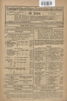 Landwirtschaftliches Zentralwochenblatt für Polen. Jg.6, Nr. 1 (9 Januar 1925)