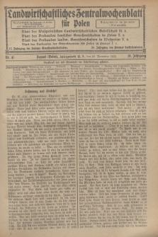 Landwirtschaftliches Zentralwochenblatt für Polen. Jg.10, Nr. 47 (22 November 1929)