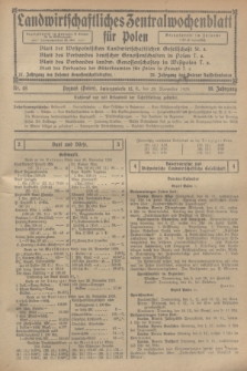 Landwirtschaftliches Zentralwochenblatt für Polen. Jg.10, Nr. 48 (29 November 1929)