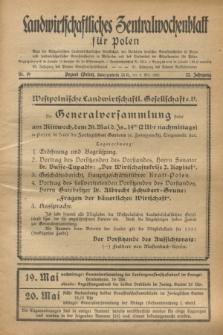 Landwirtschaftliches Zentralwochenblatt für Polen : Blatt der Westpolnischen Landwirtschaftlichen Gesellschaft, der Verbände deutscher Genossenschaften in Polen und Landwirtschaftlicher Genossenschaften in Westpolen und des Verbandes der Güterbeamten für Polen. Jg.12, Nr. 19 (8 Mai 1931)