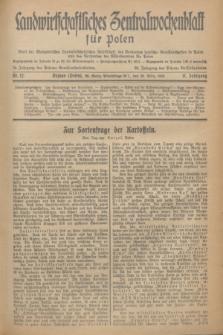 Landwirtschaftliches Zentralwochenblatt für Polen : Blatt der Westpolnischen Landwirtschaftlichen Gesellschaft, des Verbandes deutscher Genossenschaften in Polen und des Verbandes der Güterbeamten für Polen. Jg.17, Nr. 12 (20 März 1936) + dod.