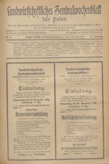Landwirtschaftliches Zentralwochenblatt für Polen : Blatt der Westpolnischen Landwirtschaftlichen Gesellschaft, des Verbandes deutscher Genossenschaften in Polen und des Verbandes der Güterbeamten für Polen. Jg.17, Nr. 47 (18 November 1936) + dod.