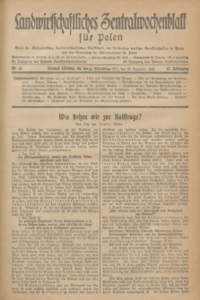 Landwirtschaftliches Zentralwochenblatt für Polen : Blatt der Westpolnischen Landwirtschaftlichen Gesellschaft, des Verbandes deutscher Genossenschaften in Polen und des Verbandes der Güterbeamten für Polen. Jg.17, Nr. 51 (16 Dezember 1936) + dod.