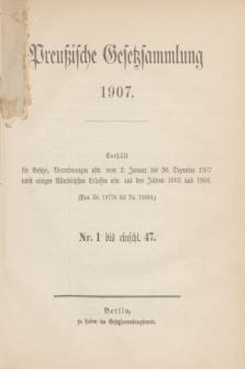 Preußische Gesetzsammlung. 1907, Spis treści