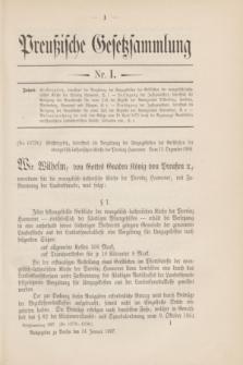 Preußische Gesetzsammlung. 1907, Nr. 1 (14 Januar)