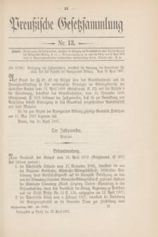 Preußische Gesetzsammlung. 1907, Nr. 13 (29 April)