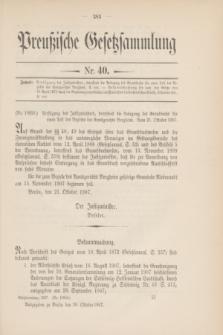 Preußische Gesetzsammlung. 1907, Nr. 40 (30 Oktober)