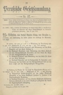 Preußische Gesetzsammlung. 1909, Nr. 17 (30 Juni)