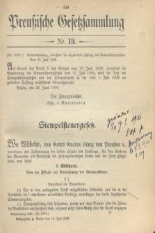 Preußische Gesetzsammlung. 1909, Nr. 19 (10 Juli)