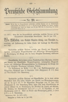 Preußische Gesetzsammlung. 1909, Nr. 20 (10 Juli)