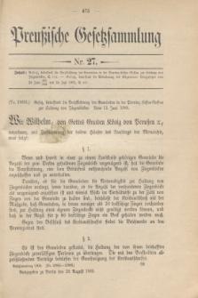 Preußische Gesetzsammlung. 1909, Nr. 27 (20 August)