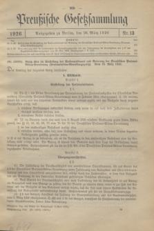 Preußische Gesetzsammlung. 1926, Nr. 13 (26 März)