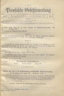 Preußische Gesetzsammlung. 1927, Nr. 2 (21 Januar)