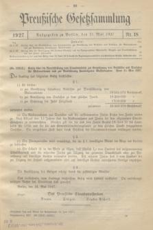 Preußische Gesetzsammlung. 1927, Nr. 18 (31 Mai)