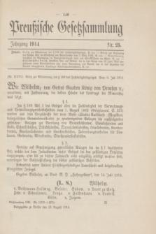 Preußische Gesetzsammlung. 1914, Nr. 25 (13 August)