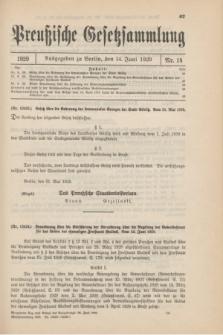 Preußische Gesetzsammlung. 1929, Nr. 14 (14 Juni)