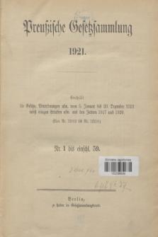 Preußische Gesetzsammlung. 1921, Spis treści