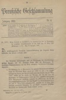 Preußische Gesetzsammlung. 1921, Nr. 4 (14 Januar)