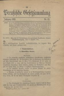 Preußische Gesetzsammlung. 1921, Nr. 12 (5 Februar)