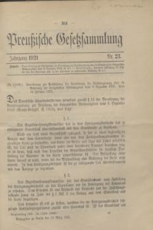 Preußische Gesetzsammlung. 1921, Nr. 23 (10 März)
