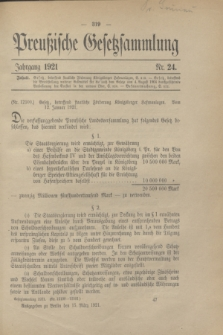 Preußische Gesetzsammlung. 1921, Nr. 24 (15 März)