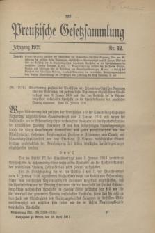 Preußische Gesetzsammlung. 1921, Nr. 32 (28 April)