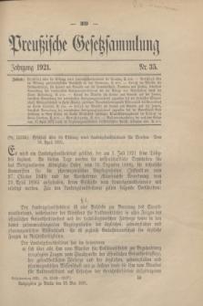 Preußische Gesetzsammlung. 1921, Nr. 35 (25 Mai)