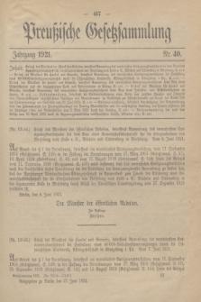 Preußische Gesetzsammlung. 1921, Nr. 40 (27 Juni)