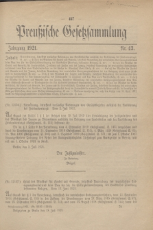 Preußische Gesetzsammlung. 1921, Nr. 43 (18 Juli)