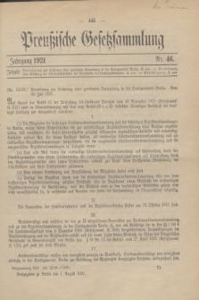 Preußische Gesetzsammlung. 1921, Nr. 46 (1 August)
