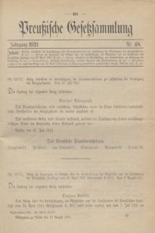 Preußische Gesetzsammlung. 1921, Nr. 48 (13 August)