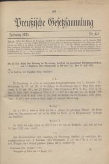 Preußische Gesetzsammlung. 1921, Nr. 49 (19 August)