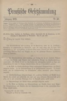 Preußische Gesetzsammlung. 1921, Nr. 50 (8 September)