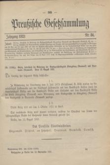 Preußische Gesetzsammlung. 1921, Nr. 51 (13 September)